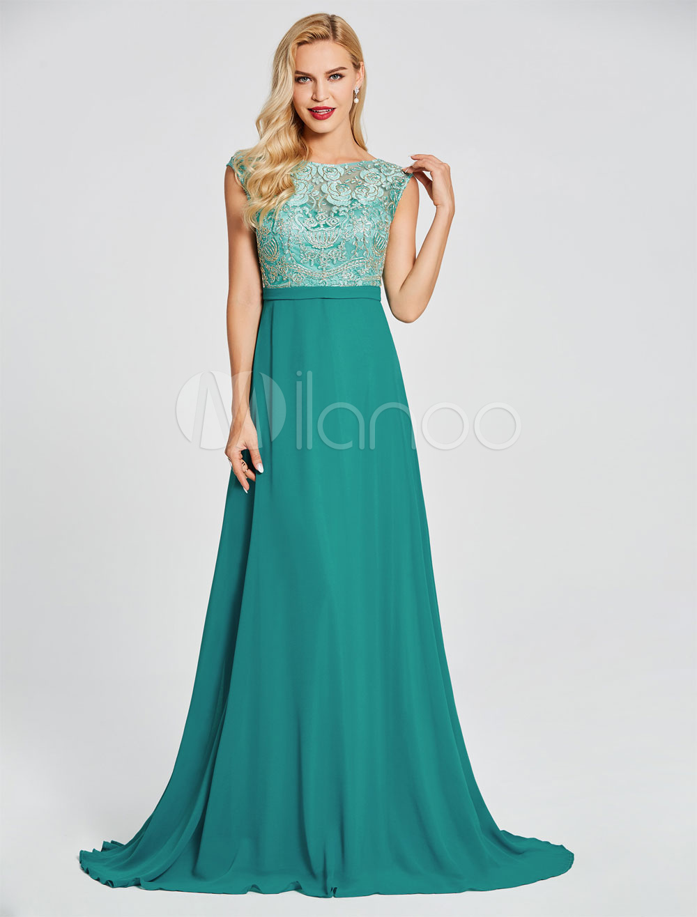 Prom Dresses Green Lace Chiffon Evening Gown Sleeveless V Back Wedding Guest Dress With Train (Evening Dresses) photo