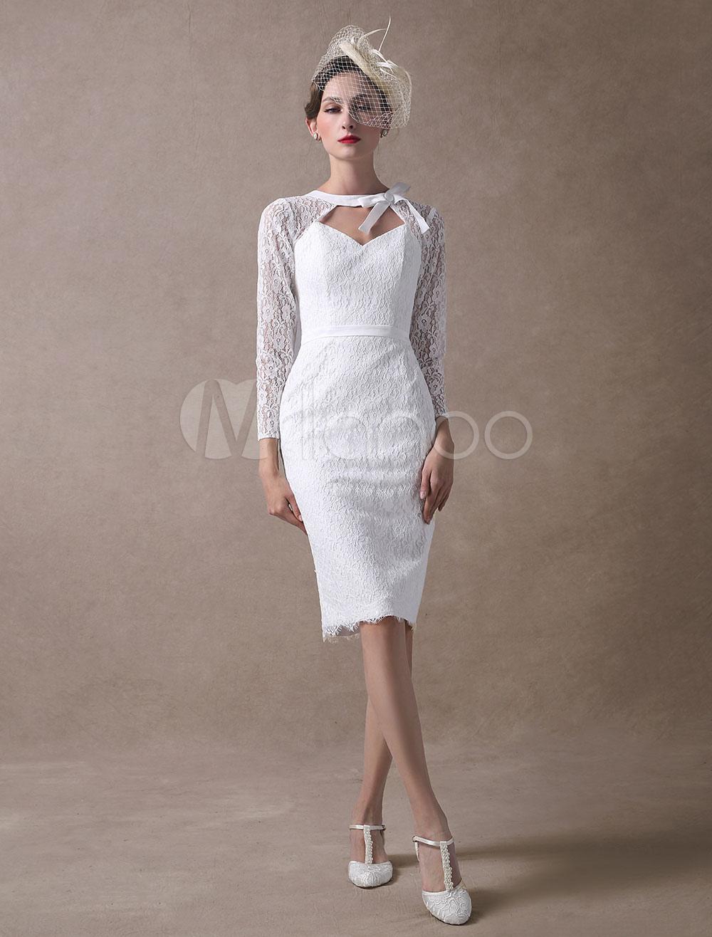 Short Wedding Dresses Lace Sheath Bridal Dress Long Sleeve Cut Out Ivory Knee Length Wedding Gowns photo