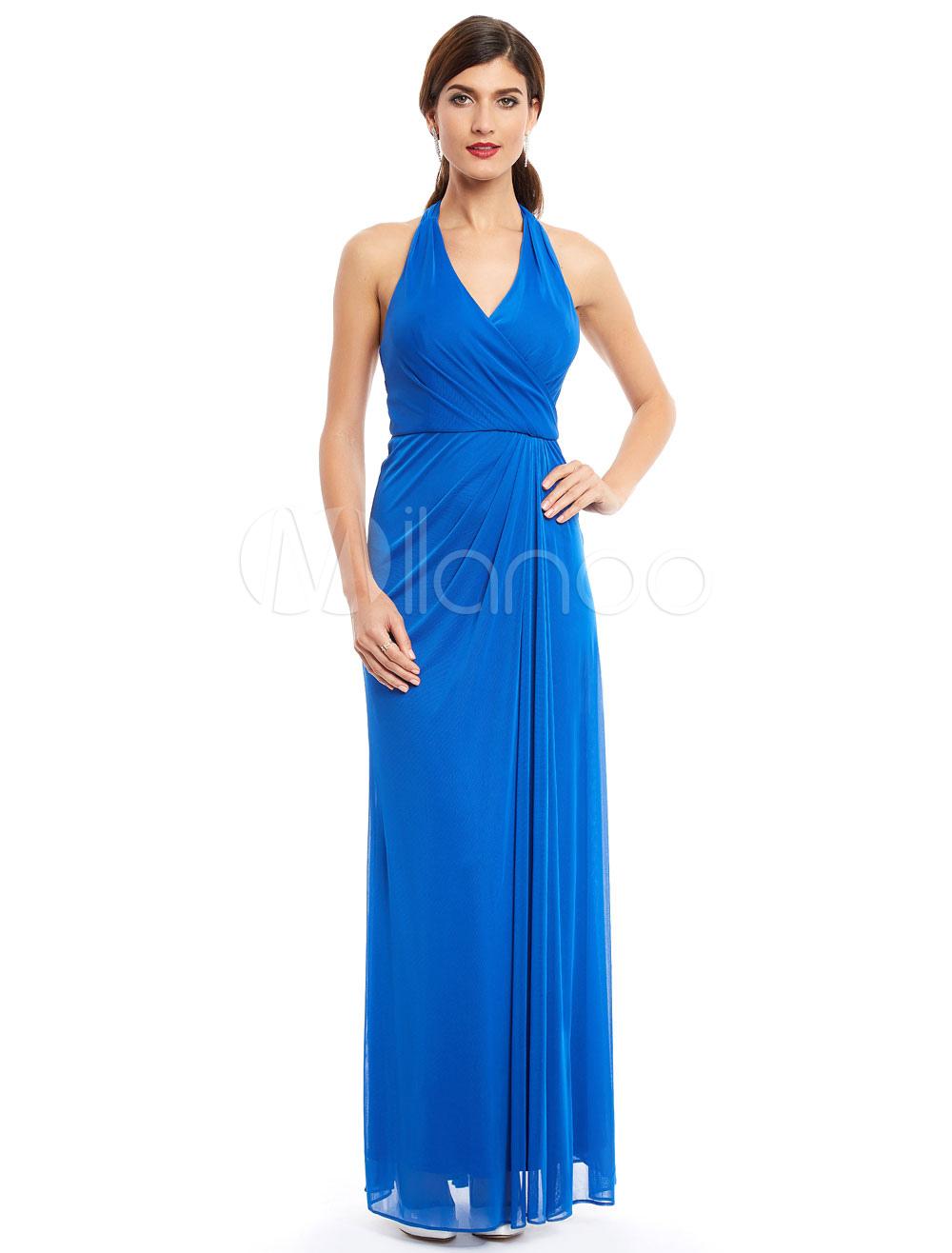 Prom Dresses Long Royal Blue Halter Chiffon Back Design Floor Length Formal Party Dress (Wedding Cheap Party Dress) photo