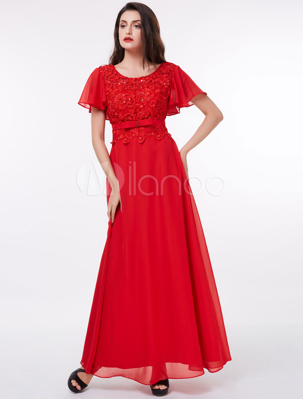 Red Prom Dress Chiffon Lace Sequin Beaded Bow Sash Short Sleeve Floor Length Formal Party Dress (Wedding Cheap Party Dress) photo