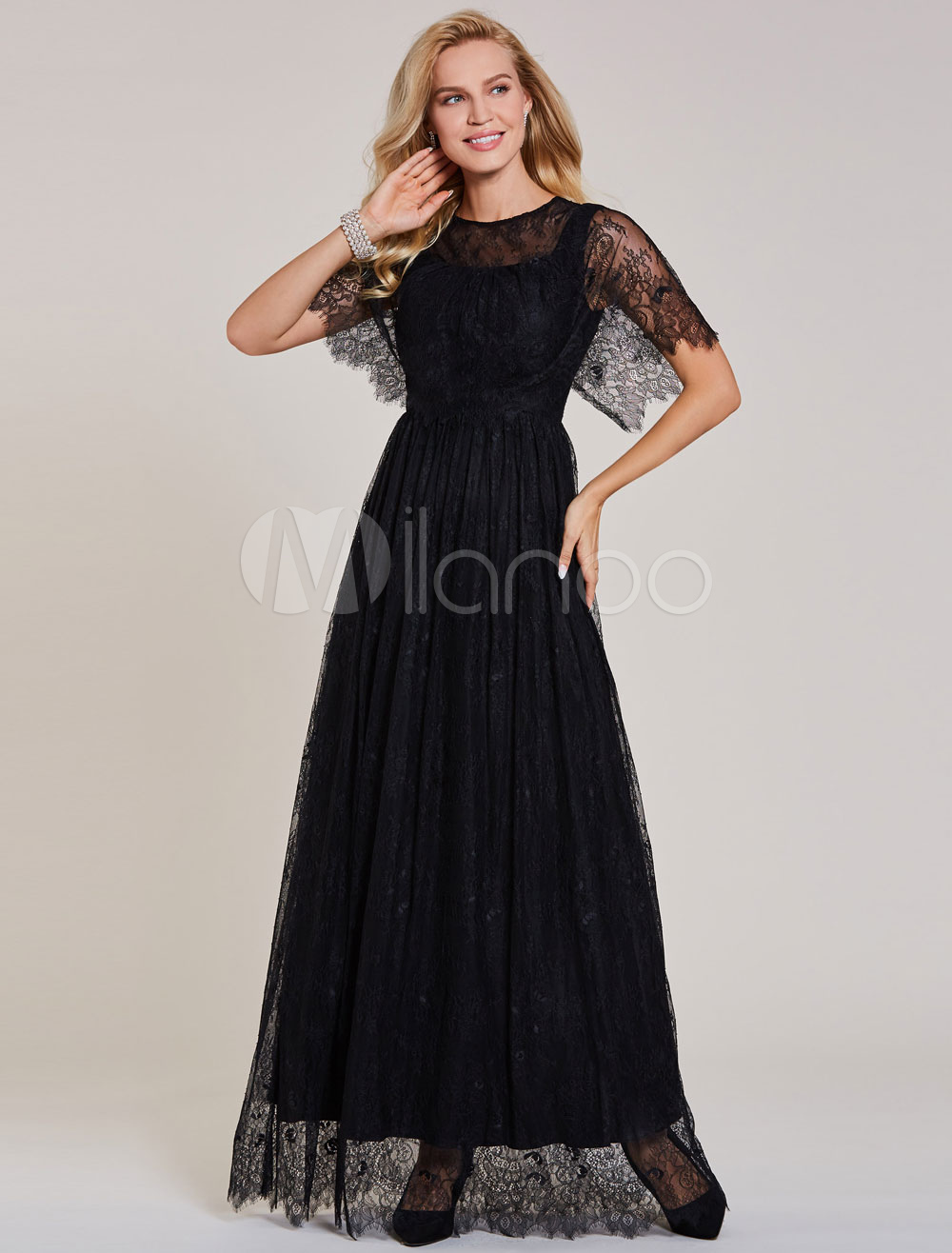Lace Evening Dresses Black Short Sleeve Prom Dress Long Floor Length Formal Poncho Cape Dress (Wedding Cheap Party Dress) photo