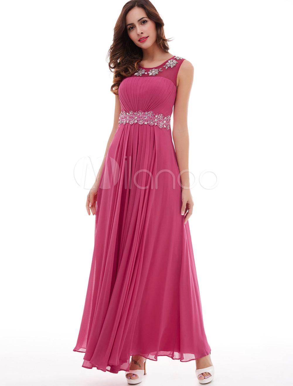 Prom Dresses Long Chiffon Hot Pink Beading Sleevelss Floor Length Formal Party Dress (Wedding Cheap Party Dress) photo