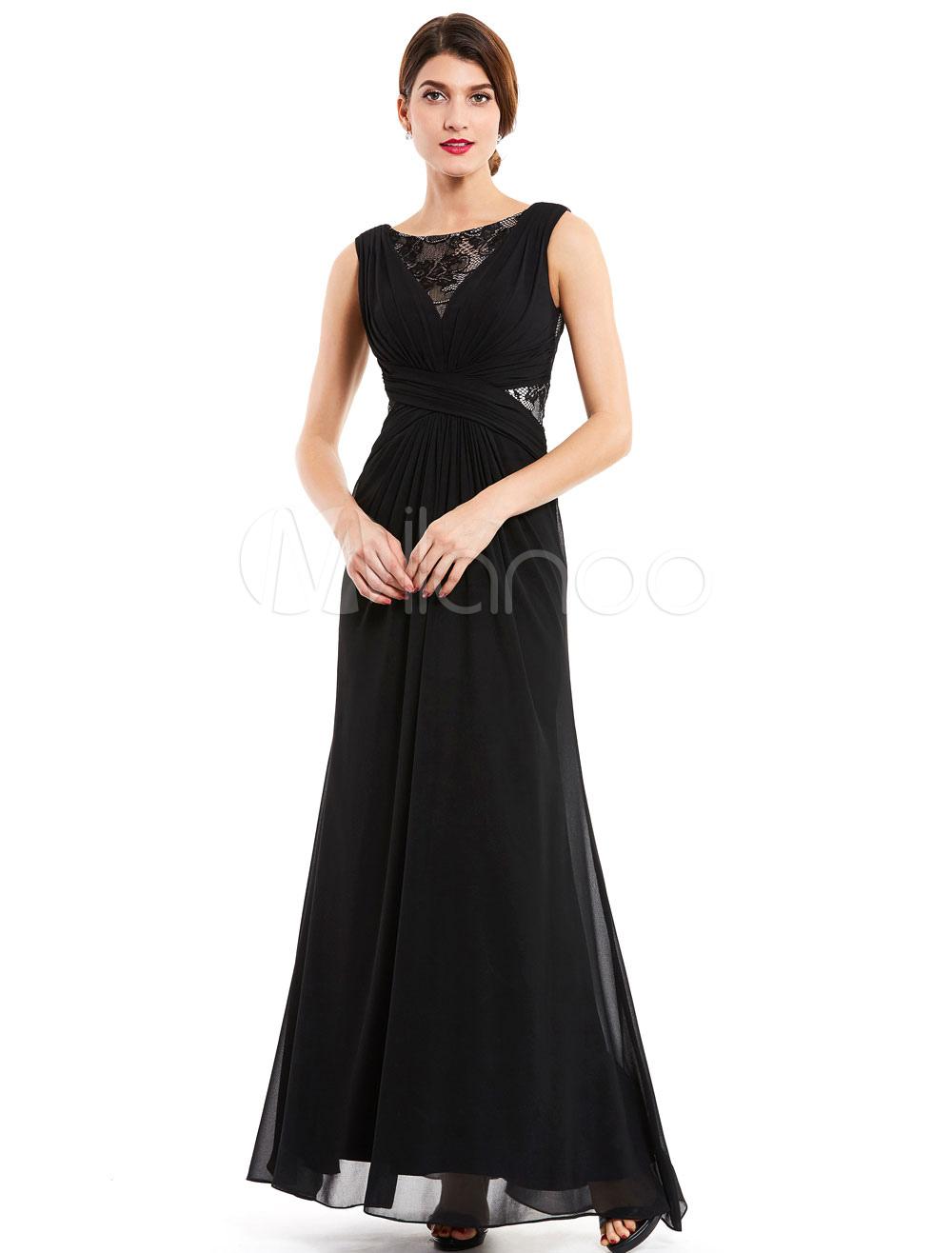 Black Evening Dresses Chiffon Wedding Guest Dress Lace Ruched Criss Cross Sleeveless Floor Length Formal Dress (Cheap Party Dress) photo