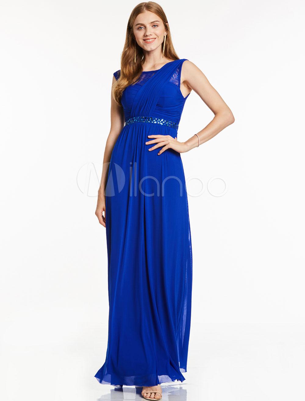 Prom Dresses Long Royal Blue Beading Sash Sleeveless Chiffon Floor Length Party Dress (Wedding Cheap Party Dress) photo