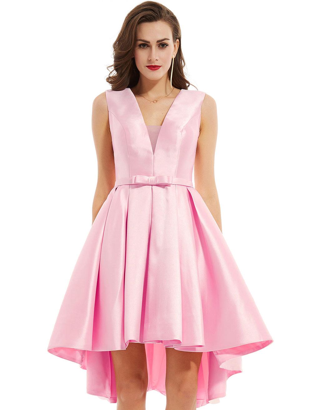 Cocktail Dress Soft Pink V Neck High Low Asymmetrical Bow Sash Short Graduation Party Dress (Wedding Cheap Party Dress) photo