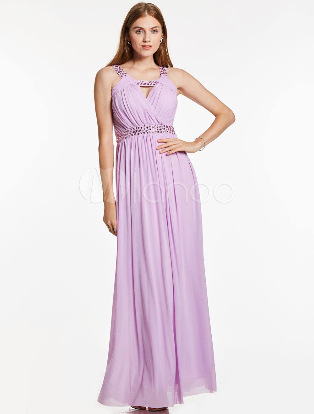 Lilac Prom Dresses Long Chiffon Beading Cutoff Floor Length Special Occasion Dress (Wedding Cheap Party Dress) photo
