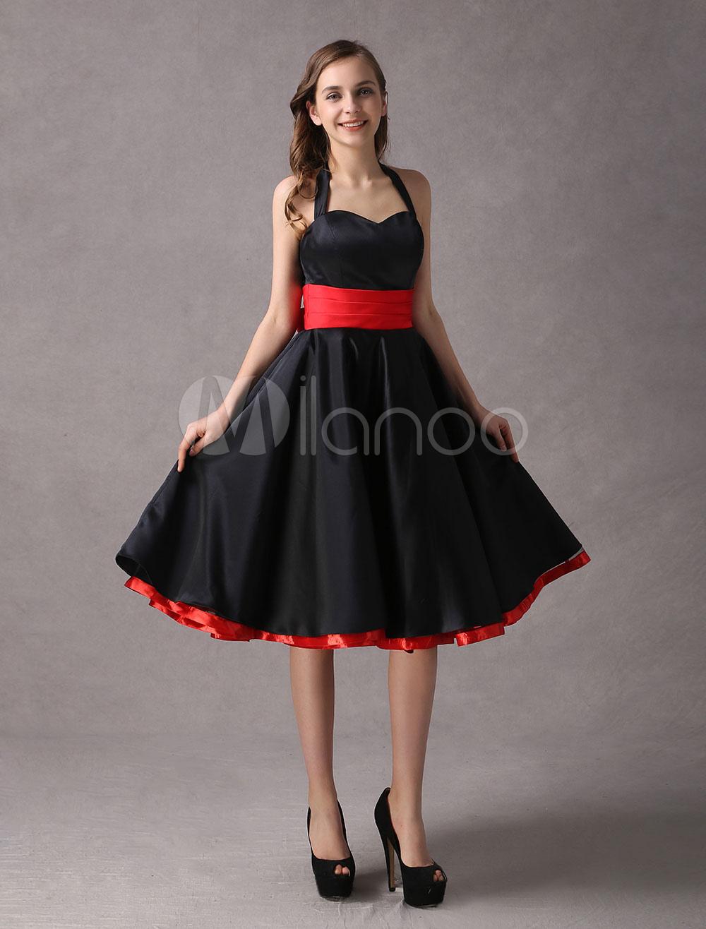 Rockabilly Bridesmaid Dresses Black Vintage Halter Sweetheart Neckline Pleated Bow Sash Straps Tea Length Wedding Party Dress photo