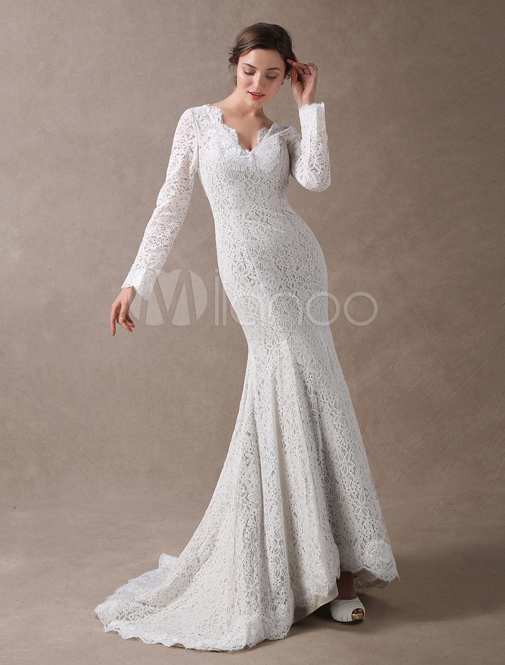 Lace Wedding Dresses Mermaid Long Sleeve Bridal Dress Ivory V Neck Backless Wedding Gowns With Train photo