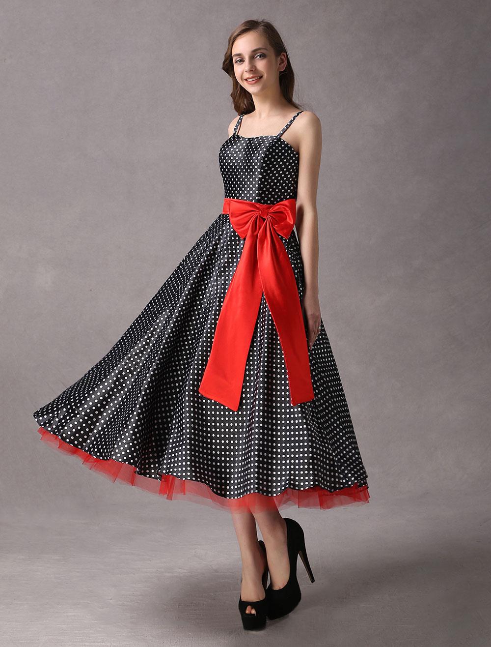 Rockabilly Bridesmaid Dresses Black Polka Dot Printed Vintage Ribbon Bow Sash Straps Tea Length Wedding Party Dress photo