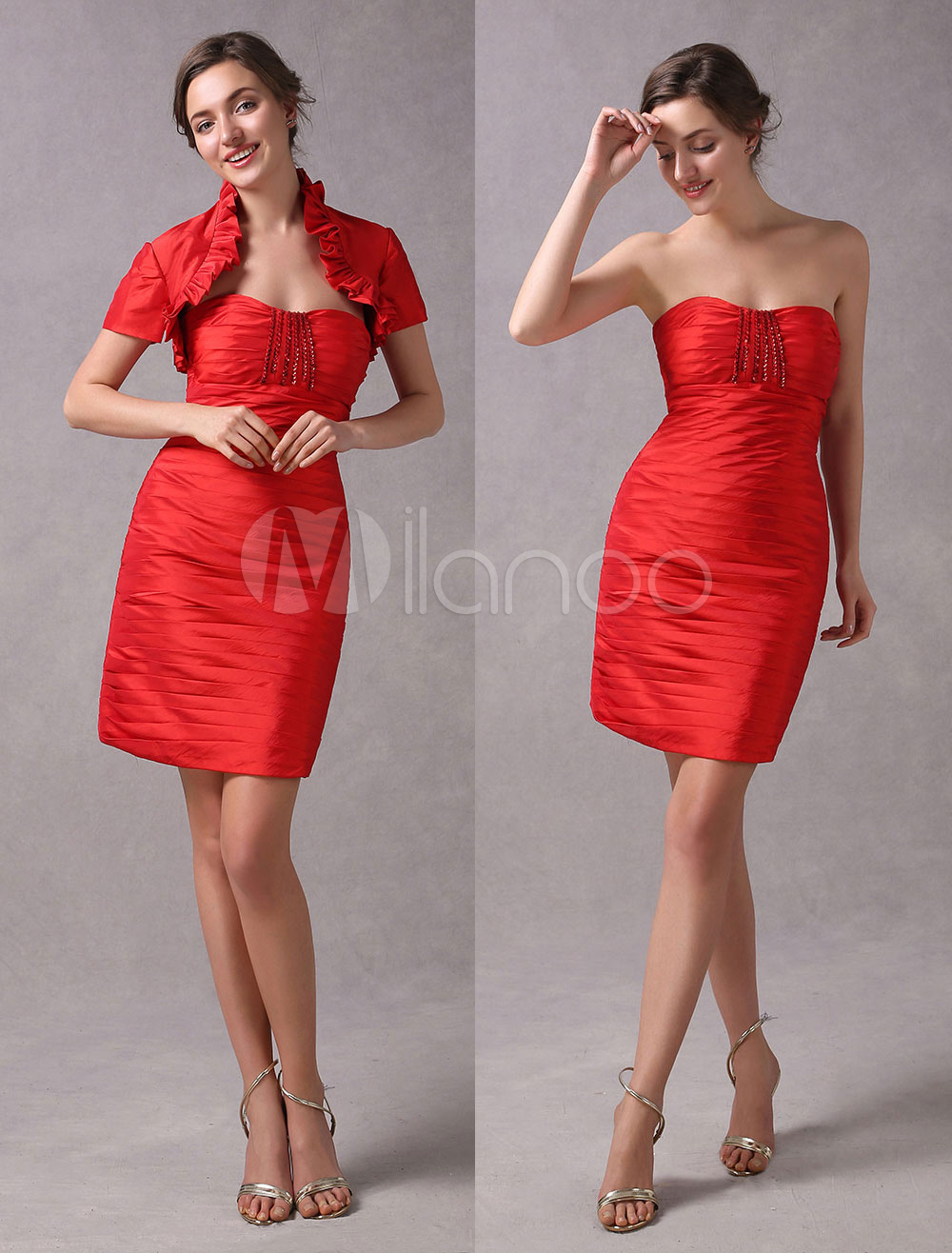 Red Cocktail Dresses Sheath 2 Piece Mother Suits Pleated Sweetheart Neckline Beaded Short Wedding Guest Dress photo