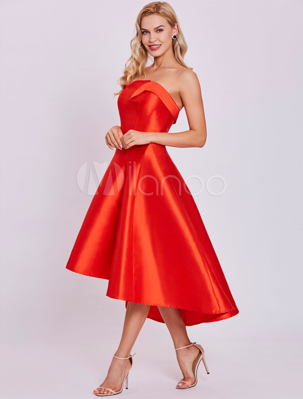 Red Cocktail Dresses Satin High Low Strapless Asymmetrical Short Graduation Dress (Wedding Cheap Party Dress) photo