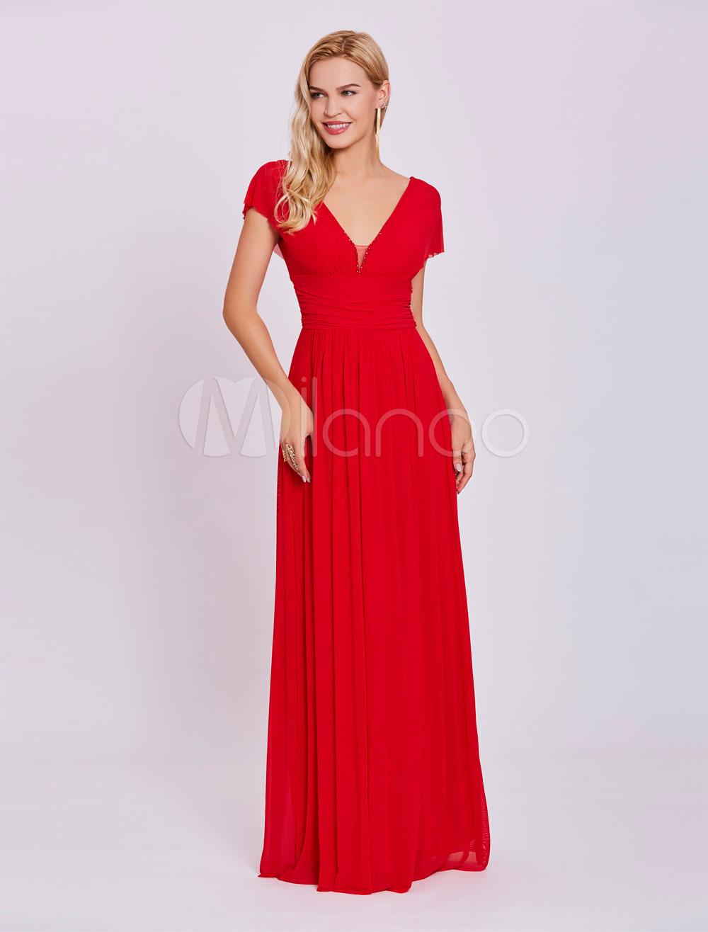 Red Prom Dresses 2018 Long Chiffon V Neck Evening Dress Short Sleeve Floor Length Formal Gowns (Wedding Cheap Party Dress) photo
