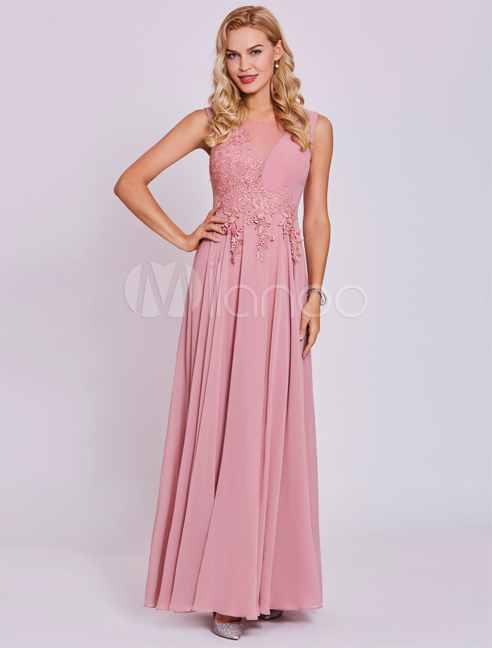 Prom Dresses 2018 Long Lace Applique Chiffon Sleeveless Illusion Cameo Pink Formal Party Dress (Wedding Cheap Party Dress) photo