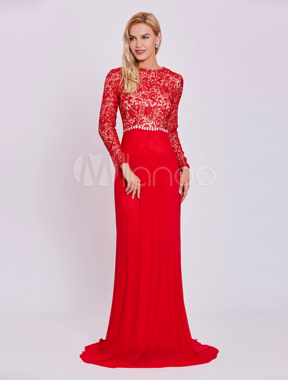 Red Evening Dresses Lace Long Sleeve Chiffon Beading Mermaid Formal Gown With Train (Wedding Cheap Party Dress) photo