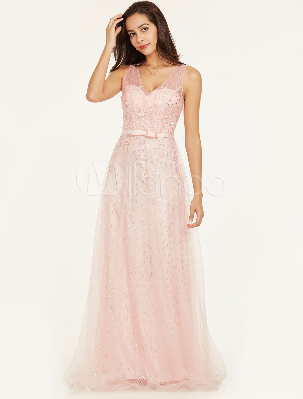 Prom Dresses Long Lace Applique Formal Gowns Sequin V Neck Illusion Bow Sash Floor Length Special Occasion Dresses (Wedding Cheap Party Dress) photo