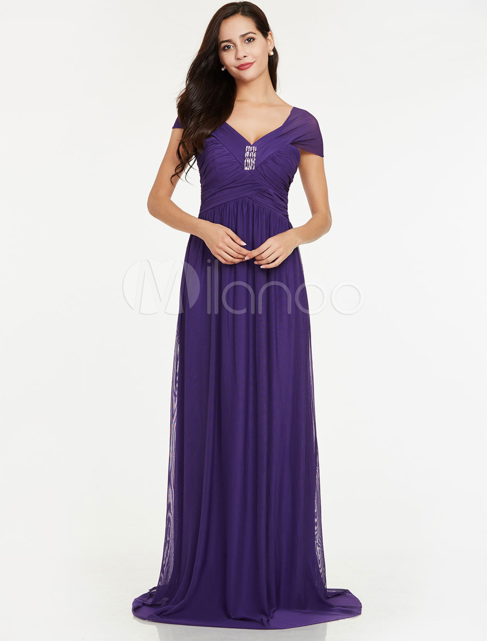 Lavender Bridesmaid Dresses Long Prom Dresses Chiffon Ruched Beading V Neck Floor Length Wedding Party Dress (Cheap Party Dress) photo