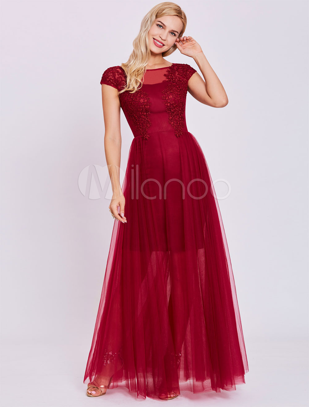 Burgundy Prom Dresses Long Tulle Formal Gowns Lace Applique Illusion Floor Length Special Occasion Dress (Wedding Cheap Party Dress) photo