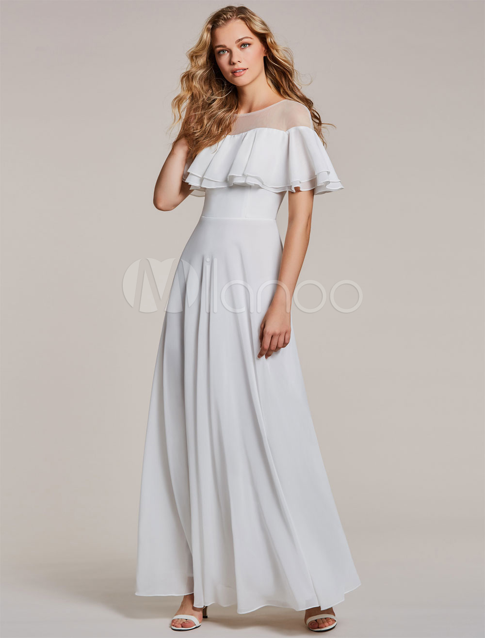 White Prom Dresses Chiffon Short Sleeve Ruffles Tiered Poncho Caplet Dress Women Formal Dresses (Wedding Cheap Party Dress) photo