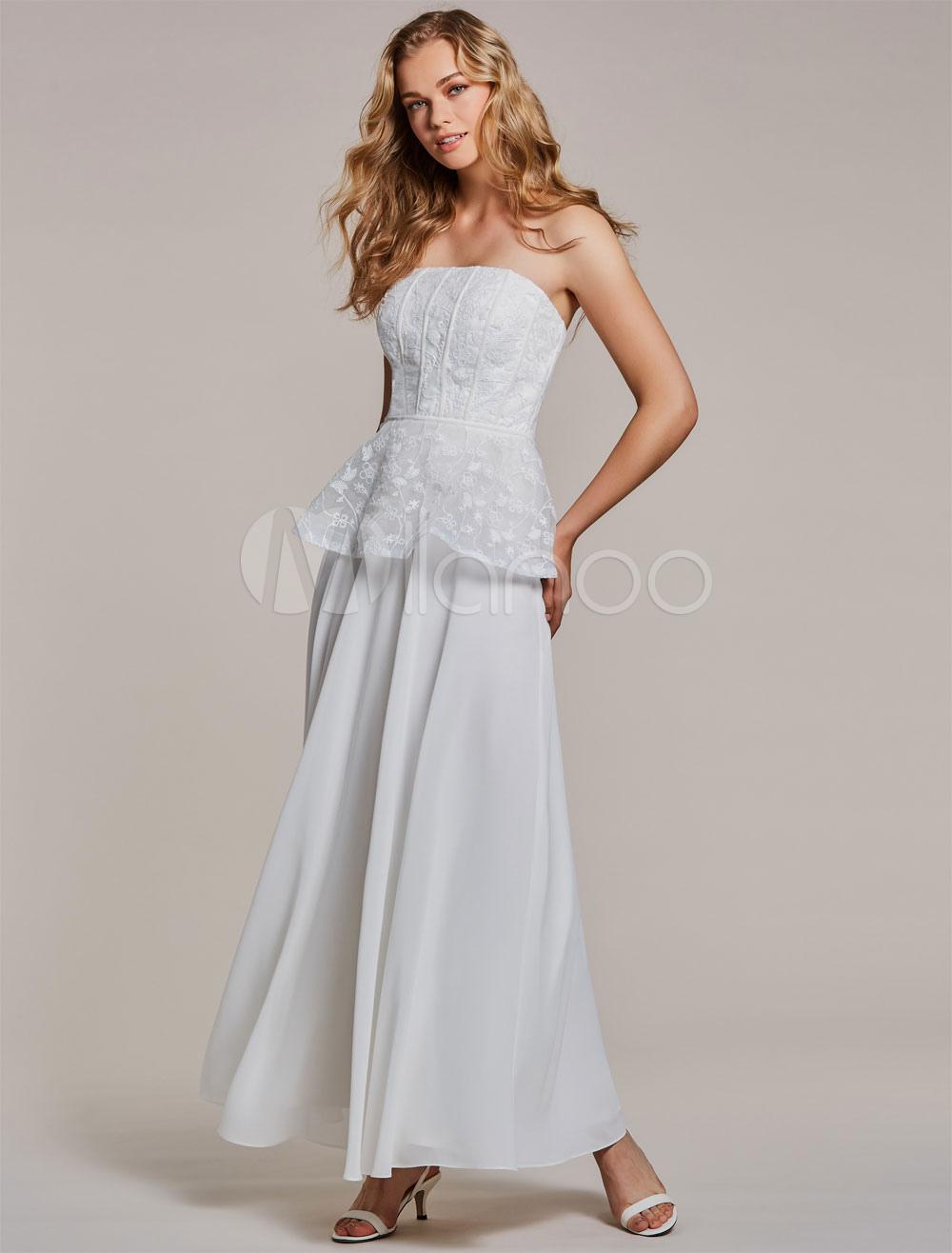 White Prom Dresses Lace Peplum Strapless Chiffon Ankle Length Formal Dress (Wedding Cheap Party Dress) photo