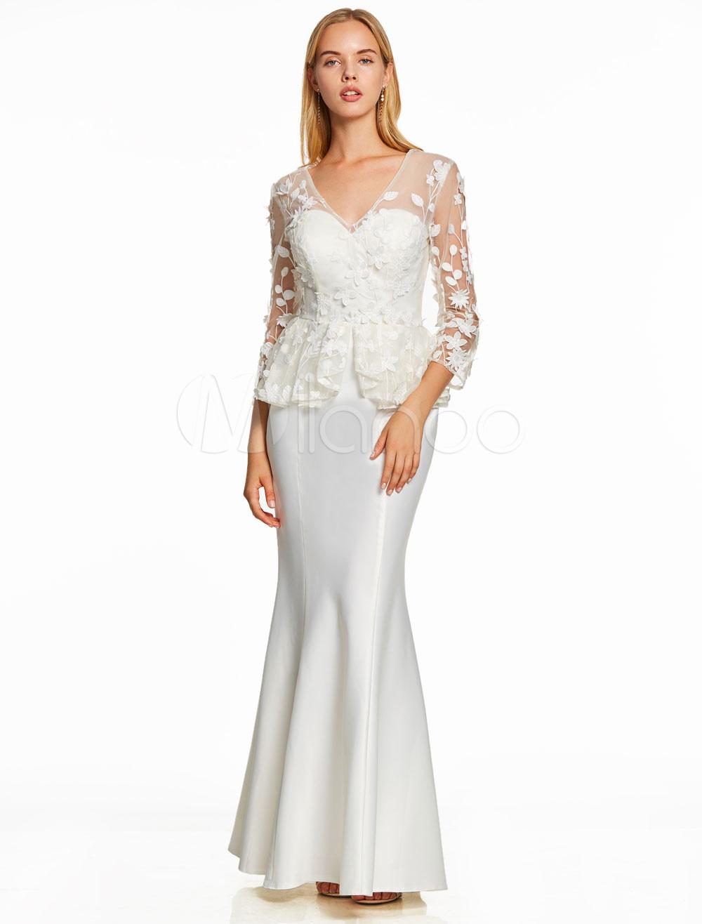 White Evening Dresses V Neck Peplum Flowers Applique Mermaid Long Sleeve Wedding Guest Dress (Cheap Party Dress) photo
