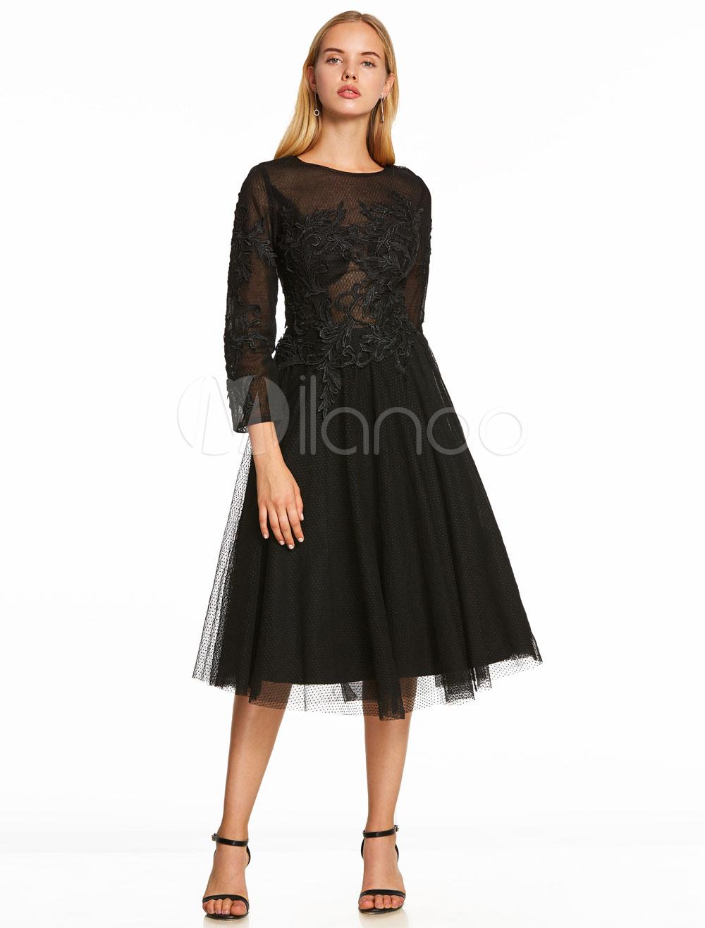 Little Black Dresses Lace Long Sleeve Black Cocktail Dress Lace Applique Illusion Short Party Dress (Wedding Cheap Party Dress) photo