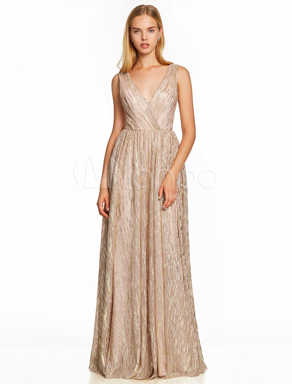 Champagne Prom Dresses Long Lace V Neck Sleeveless Backless Floor Length Special Occasion Dress (Wedding Cheap Party Dress) photo