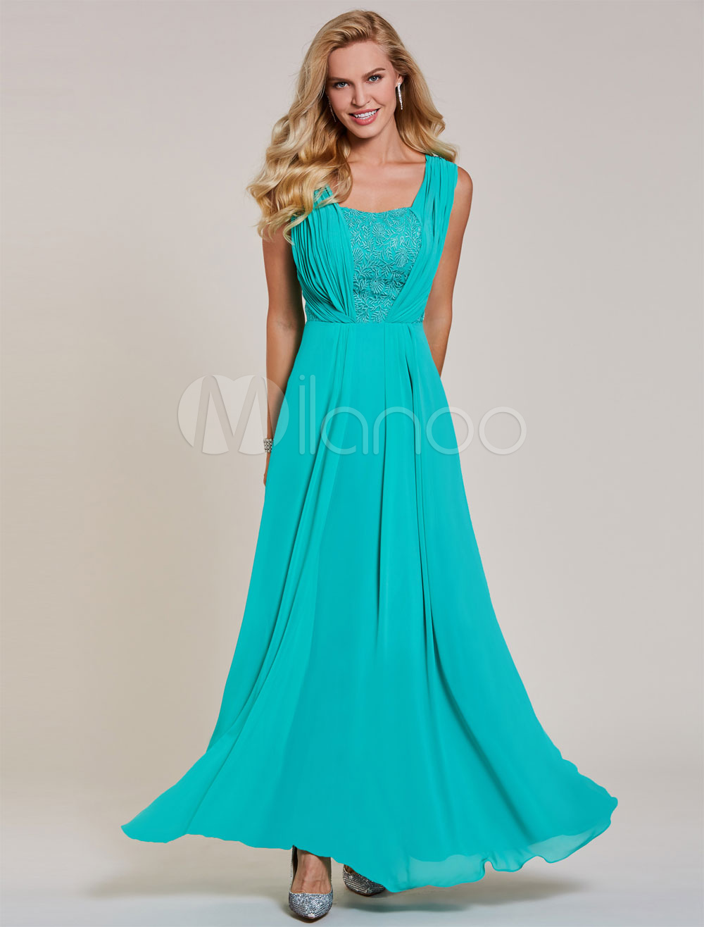 Long Prom Dresses Blue Green Chiffon Square Neck Lace Pleated Floor Length Formal Party Dress (Wedding Cheap Party Dress) photo