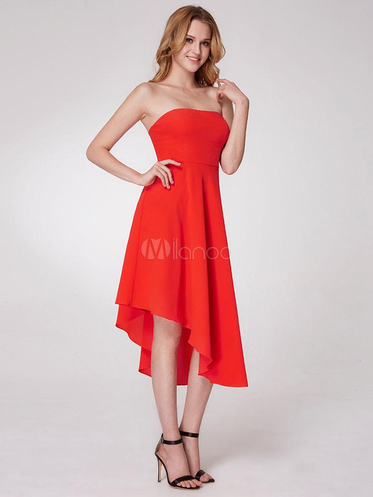 Cocktail Dress Orange Red Strapless Asymmetrical Elastic Satin Short Prom Party Dresses (Wedding Cocktail Dresses) photo