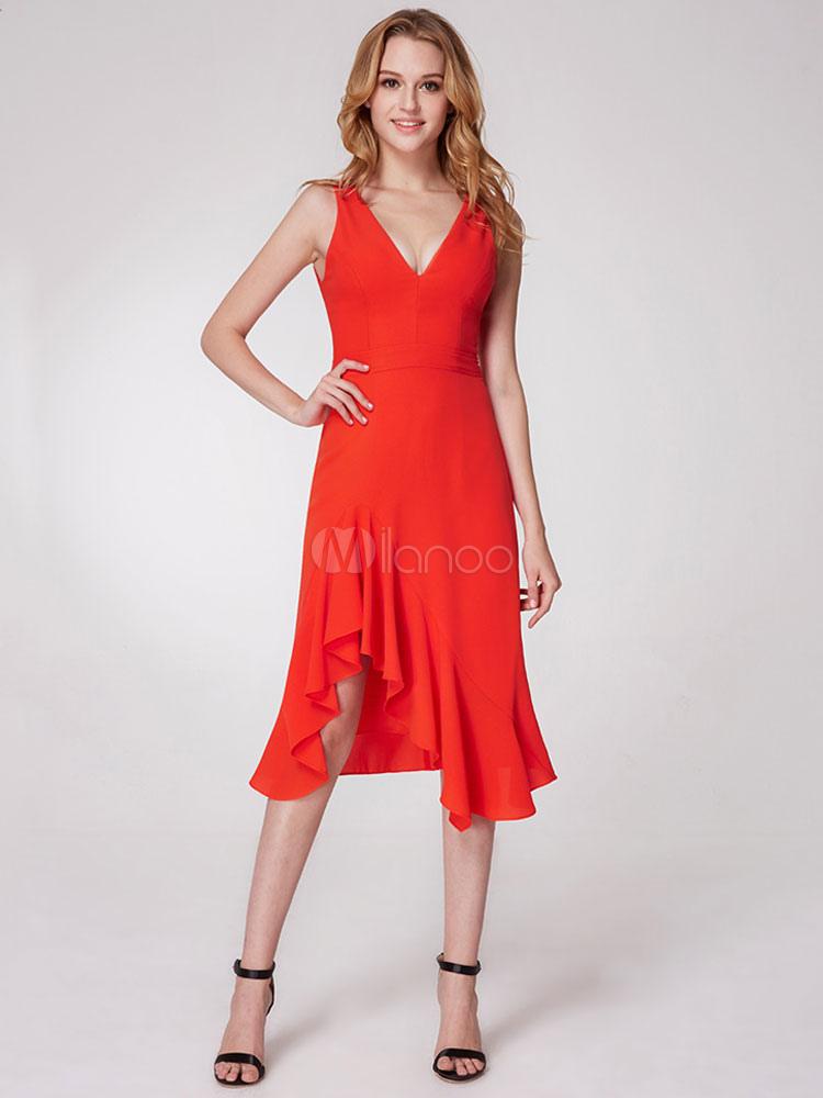 Short Prom Dresses Orange Red V Neck Sleeveless Asymmetrical Elastic Satin Cocktail Dress (Wedding Cocktail Dresses) photo