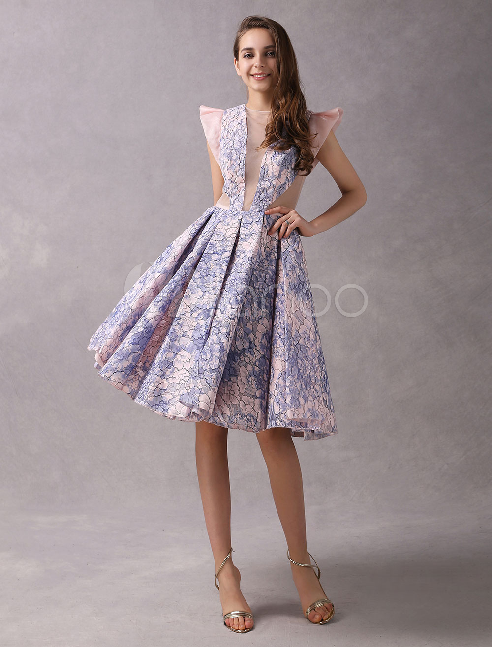 Cocktail Dresses Lace Short Party Dresses Soft Pink Organza Illusion Knee Length Graduation Dress (Wedding) photo