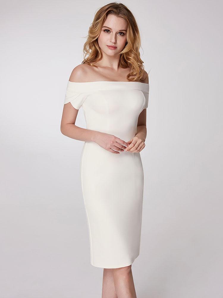 Cocktail Dresses White Column Off The Shoulder Party Dress Sheath Short Wedding Guest Dresses photo