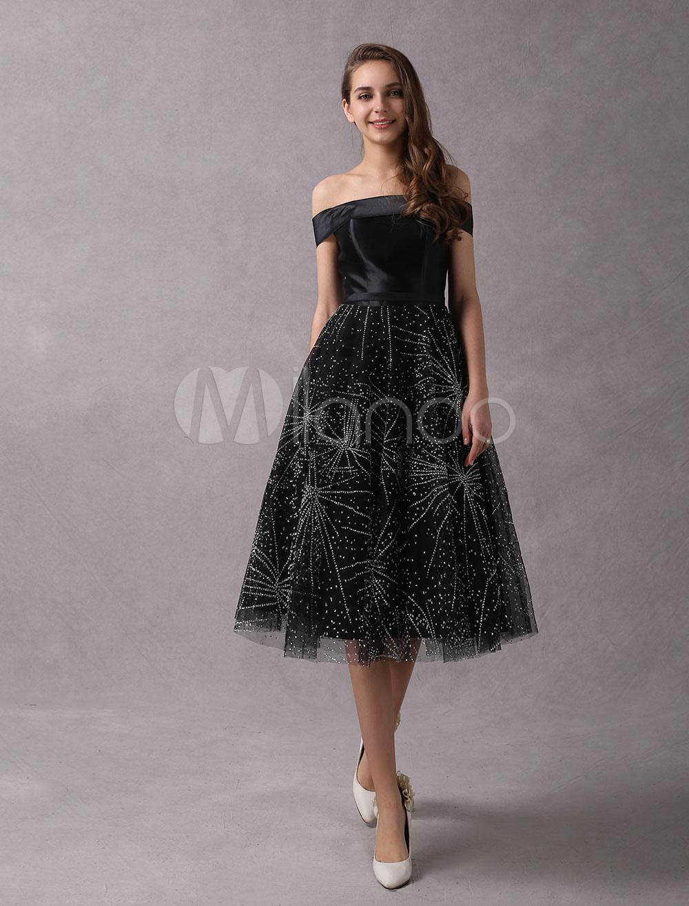 Short Prom Dresses Black Off The Shoulder Graduation Dress Sequin Tea Length Party Dresses (Wedding Cocktail Dresses) photo