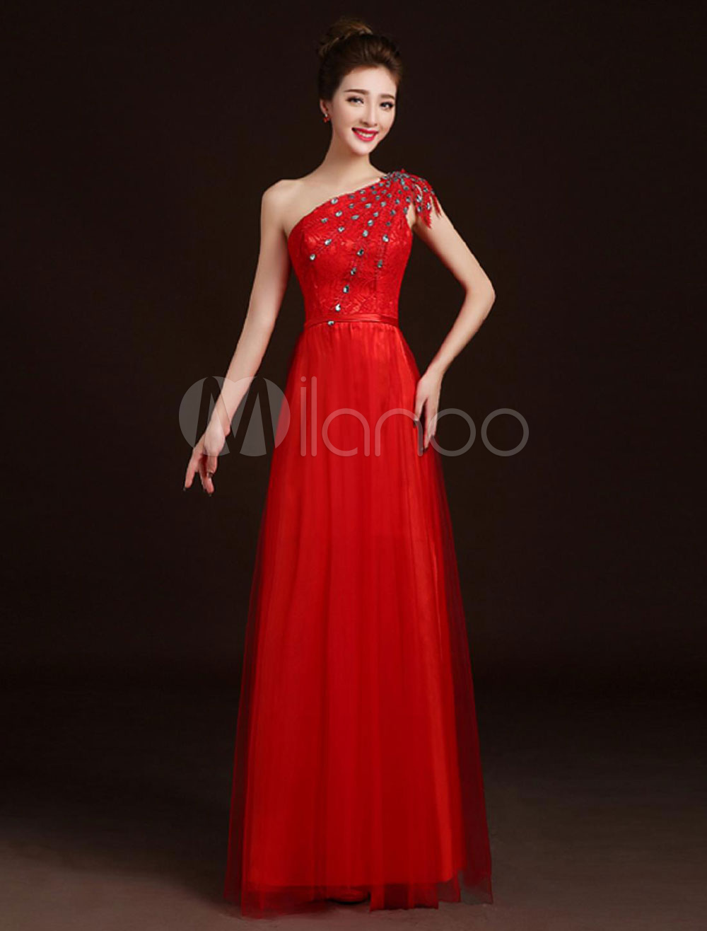 Red Evening Dresses One Shoulder Beaded Lace Tulle Floor Length Formal Party Dress (Wedding Cheap Party Dress) photo