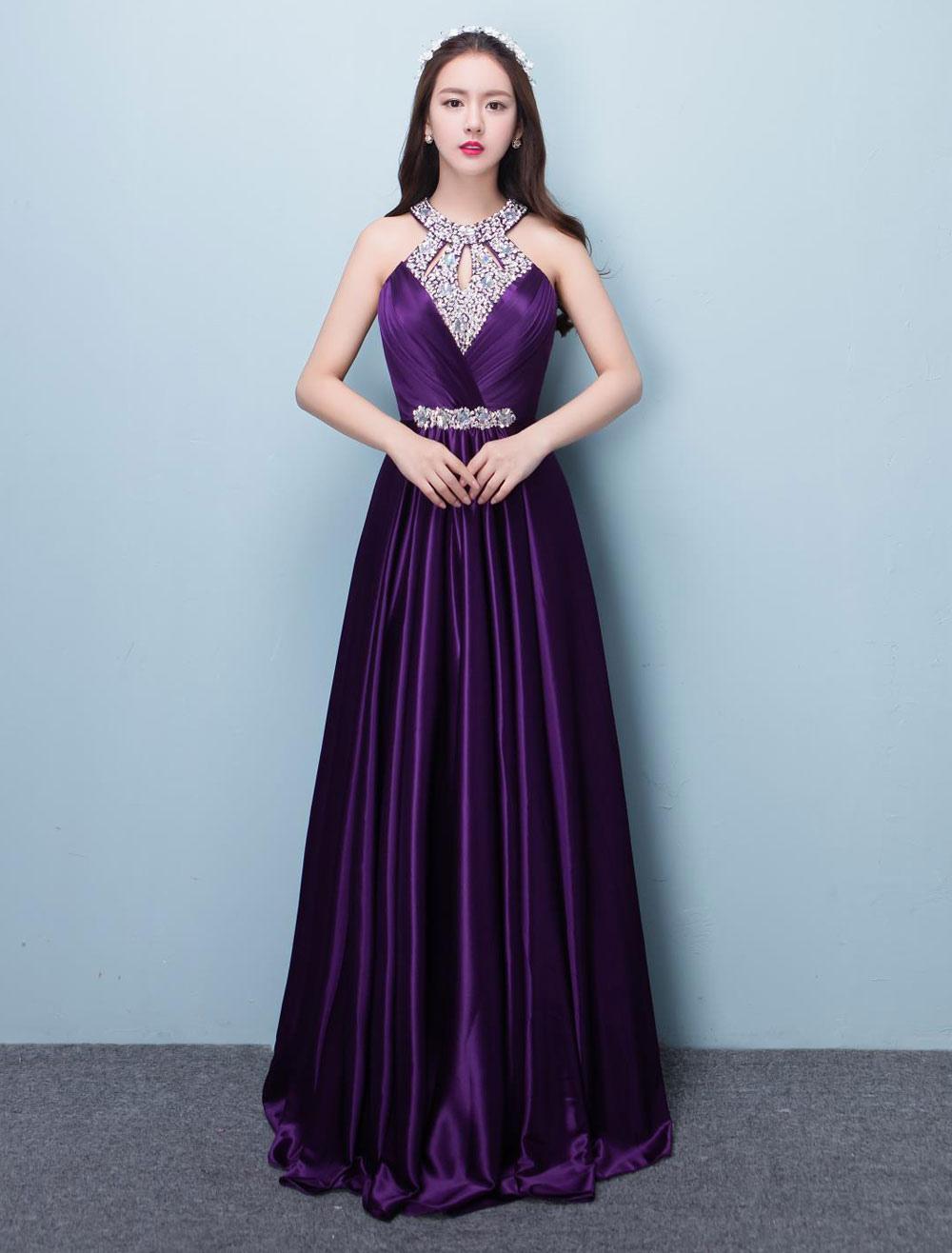 Prom Dresses Long Lavender Satin Beaded Halter Backless Floor Length Formal Occasion Dress (Wedding Cheap Party Dress) photo