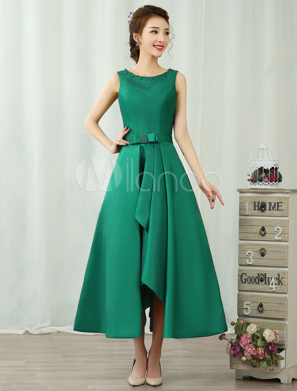 Cocktail Dresses Satin Dark Green Sleeveless Bow Sash Ruffles Backless A Line Formal Party Dresses (Wedding Cheap Party Dress) photo