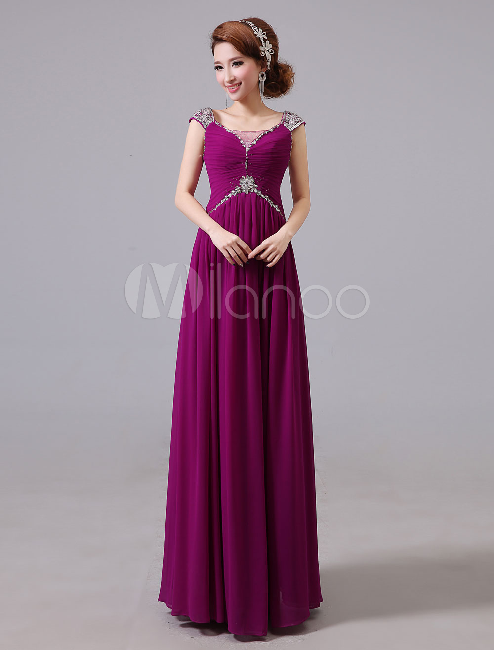 b0daffdf3 Evening Dresses Formal Chiffon Long Prom Dress Beading Ruched Floor Length  Special Occasion Dress (Wedding