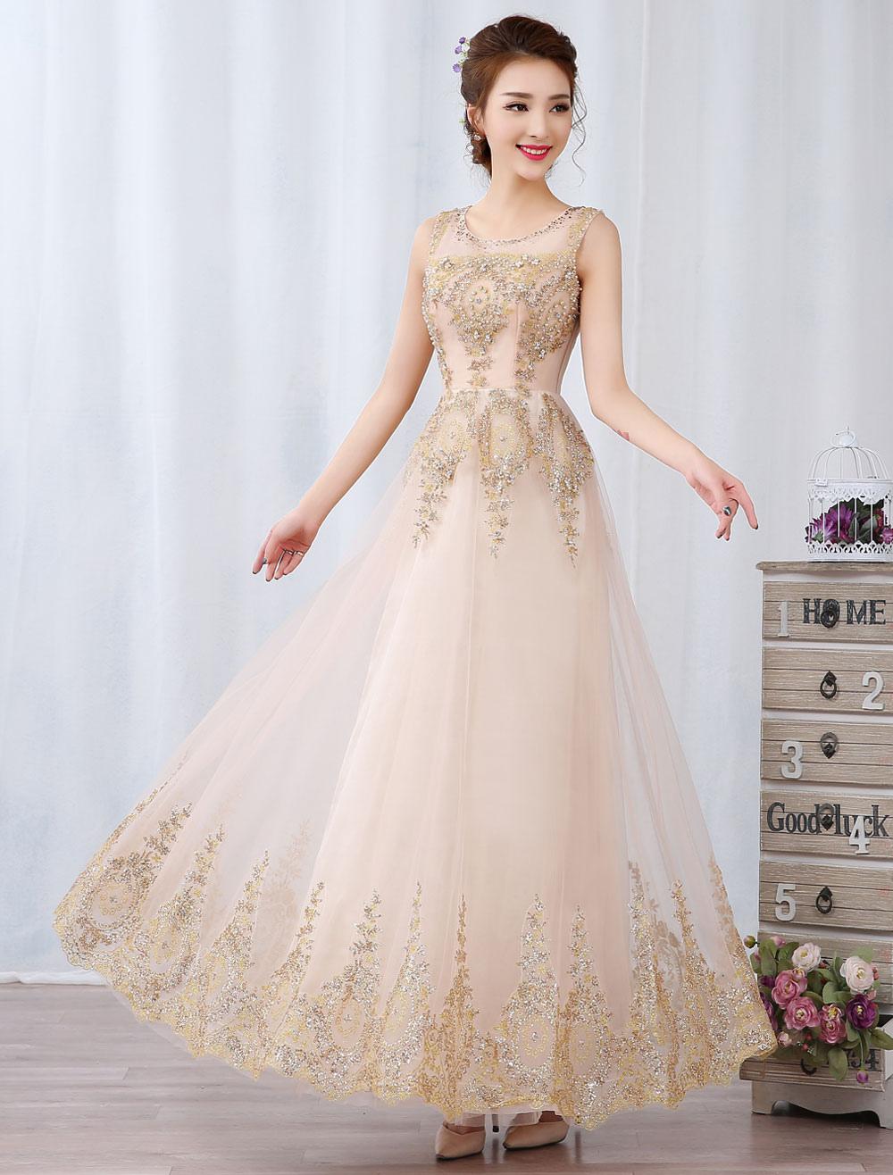 Champagne Prom Dresses Long Rhinestone Beaded Sleeveless Floor Length Formal Occasion Dress (Wedding Cheap Party Dress) photo