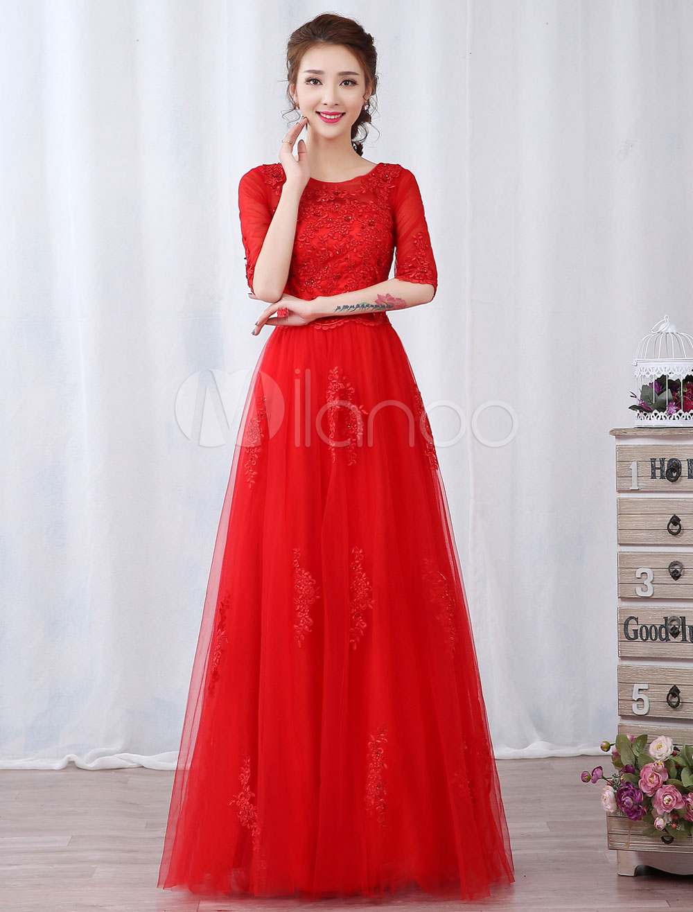 Red Prom Dresses Long Lace Beading Half Sleeve Keyhole Floor Length Formal Evening Gowns (Wedding Cheap Party Dress) photo