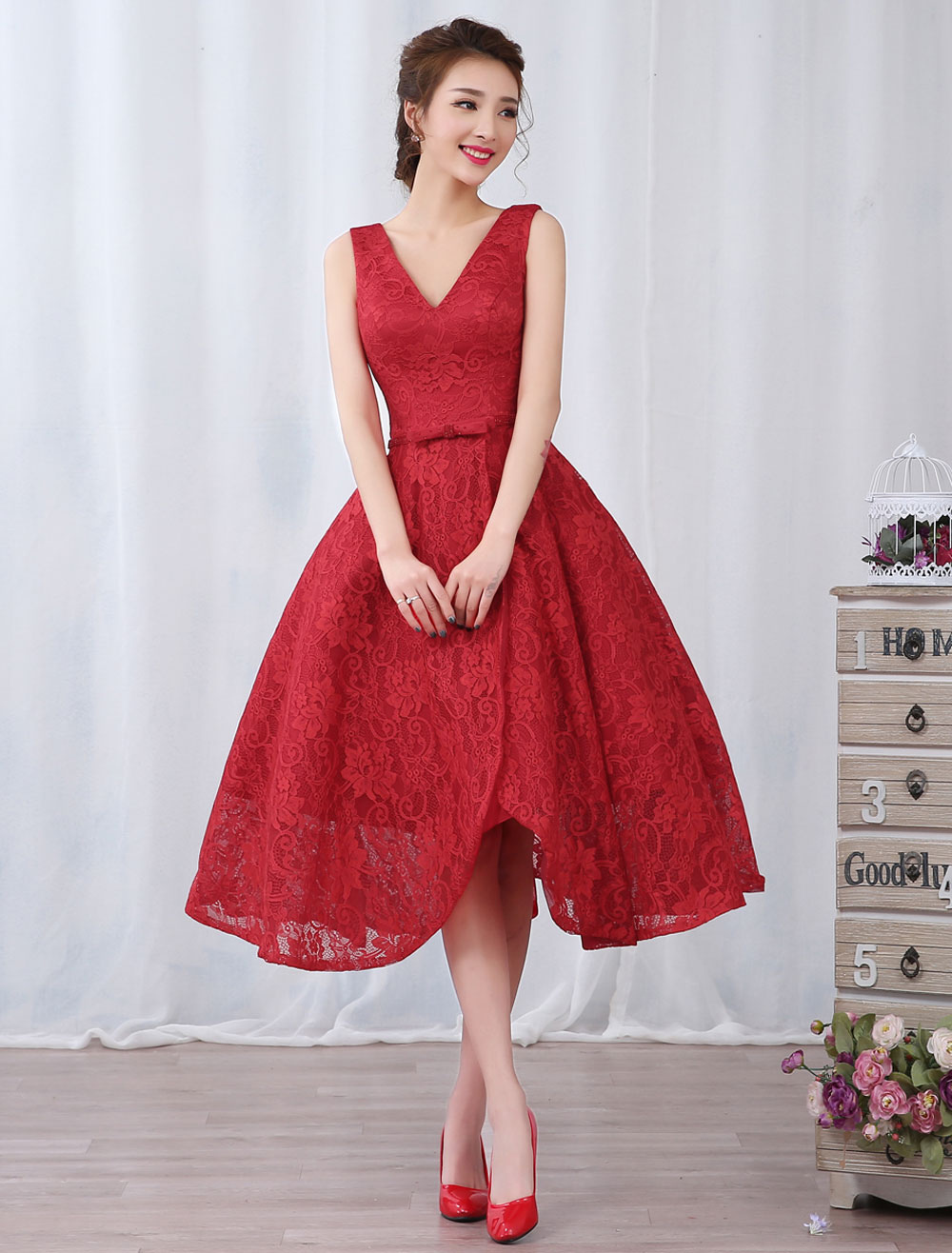 Red Cocktail Dresses Lace V Neck Short Prom Dress Bow Sash Backless Tea Length Party Dresses (Wedding Cheap Party Dress) photo