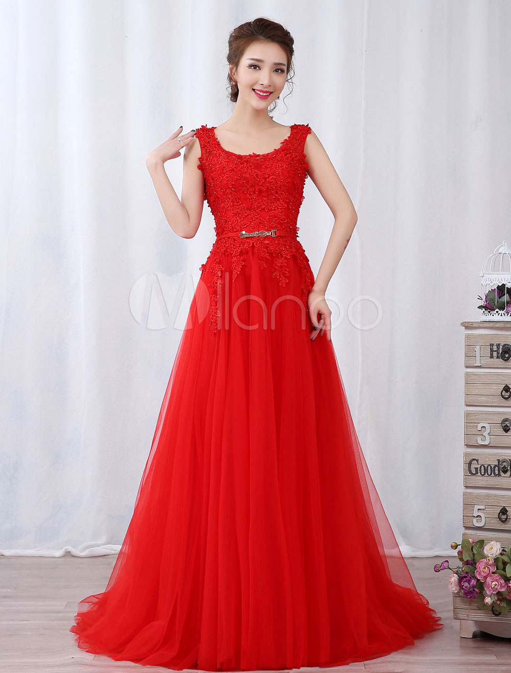 Red Evening Dresses Lace Beading Tulle Backless Sash Sleeveless Formal Occasion Dress (Wedding Cheap Party Dress) photo
