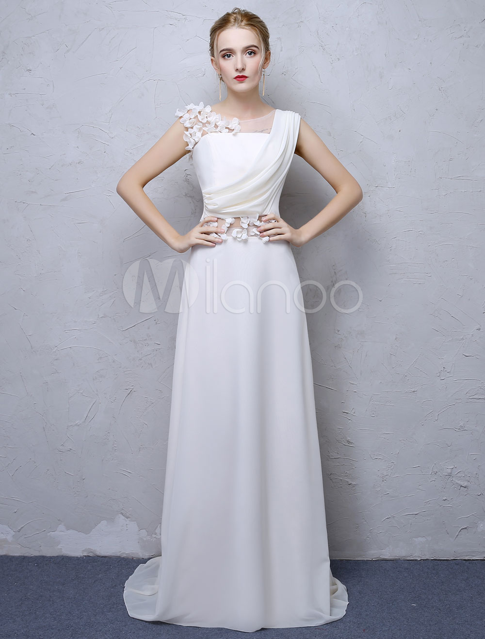 White Evening Dresses Flowers Applique Illusion Chiffon Sleeveless Formal Gowns With Train (Wedding Cheap Party Dress) photo