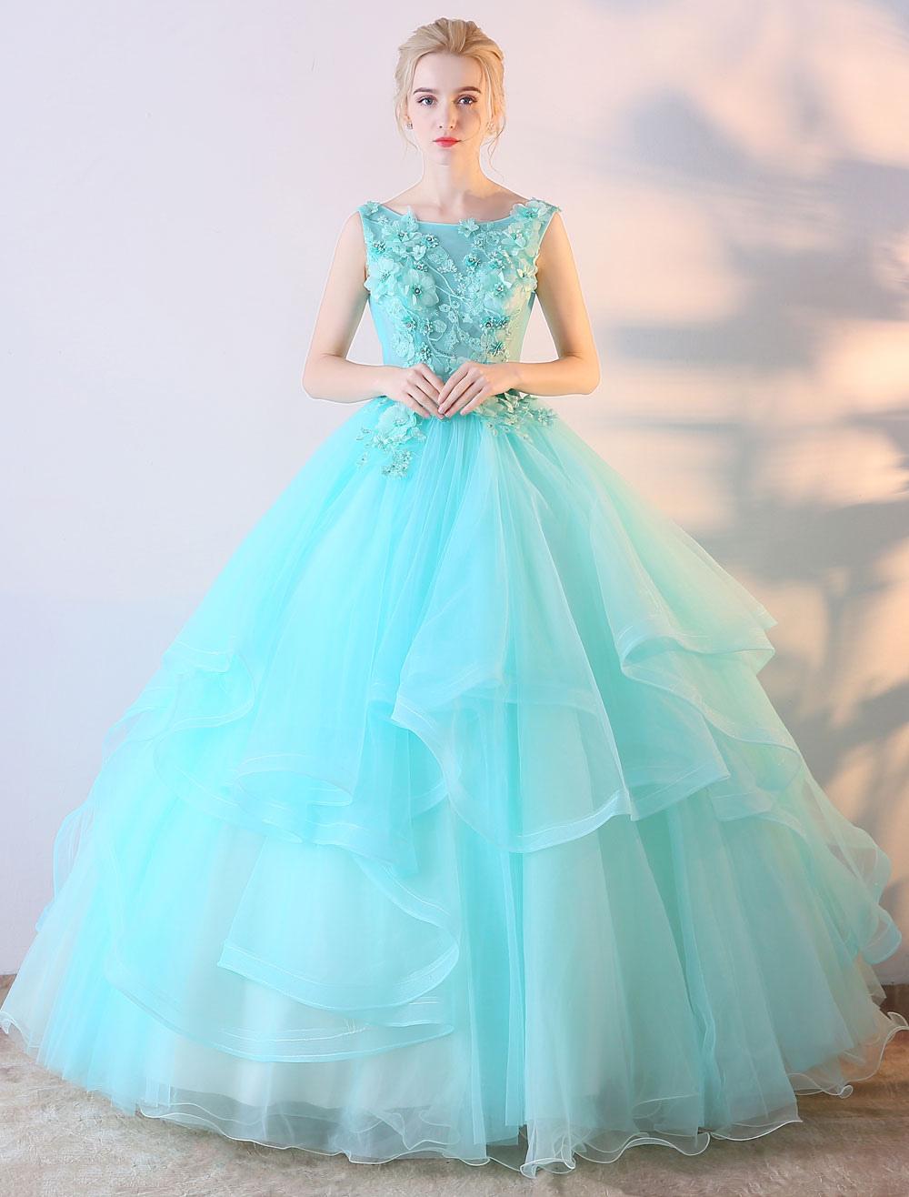 Mint Green Prom Dress Ball Gown Flowers Applique Colored Wedding Dress Floor Length Quinceanera Dress (Cheap Party Dress) photo