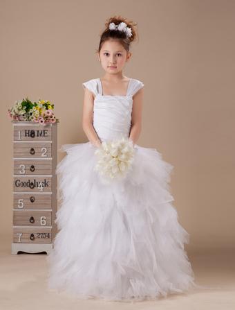 robe du cortge enfant en taffetas blanc pliss de col carr - Milanoo Robe De Soiree Pour Mariage