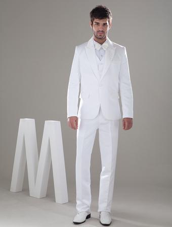 Trajes de novios de satén blanco con pantalones de largo medio de estilo popular