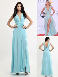 robe pour les emmy awards a ligne en chiffon col v longueur plancher - Milanoo Robe De Soiree Pour Mariage