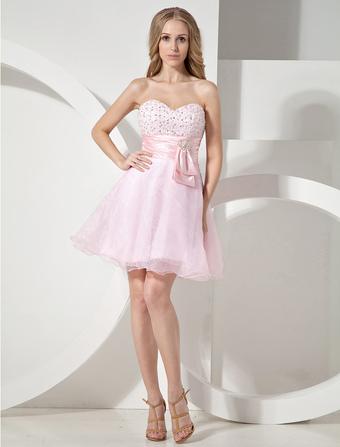 mini robe de soire rose en organza encolure coeur - Milanoo Robe De Soiree Pour Mariage