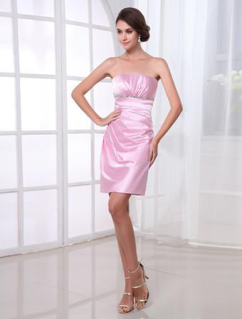robe de soire fourreau rose en satin stretch bustier longueur genou - Milanoo Robe De Soiree Pour Mariage