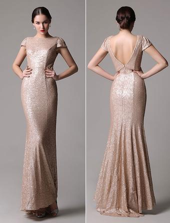 robe de soire fourreau avec paillettes champagne - Milanoo Robe De Soiree Pour Mariage