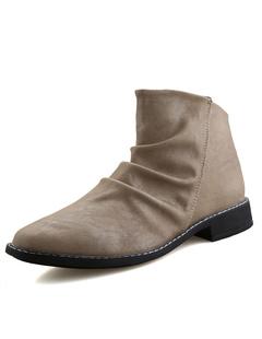 メンズ靴 PU 丸いつま先 筒丈7~9cm プリーツ カジュアル 無地