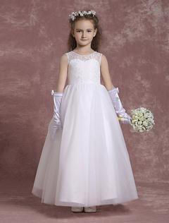 2fd791448e039 Robe fille de fleurs dentelle ivoire robe de communion robe mariage enfant  ...
